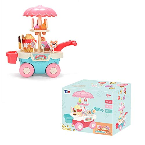Carro de caramelo luminoso de dibujos animados, carro de caramelo de helado eléctrico, trolley de postre de alimentos juguetes con música e iluminación, pegatinas de bricolaje, coche de juguete para n