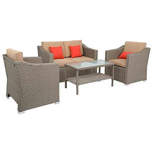 braw1store Best Choice Outdoor Furniture Wide Rattan Double Contiguous Rattan Four-Piece Suit 1 Double 2 Single 1 Double Coffee Table Gray