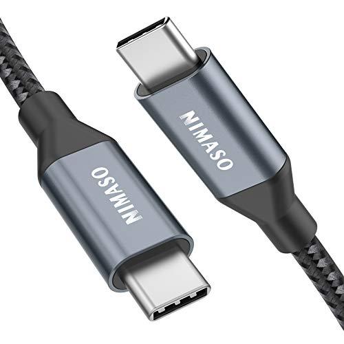 Nimaso USB C auf USB C Kabel 2M, USB Typ C 100W 20V/5A PD Schnellladekabel mit E-Mark Chip Ladekabel Datenkabel für MacBook,MacBook Pro,iPad Pro 2020,2018,MacBook Air, ChromeBook Pixel,Galaxy S20/S10