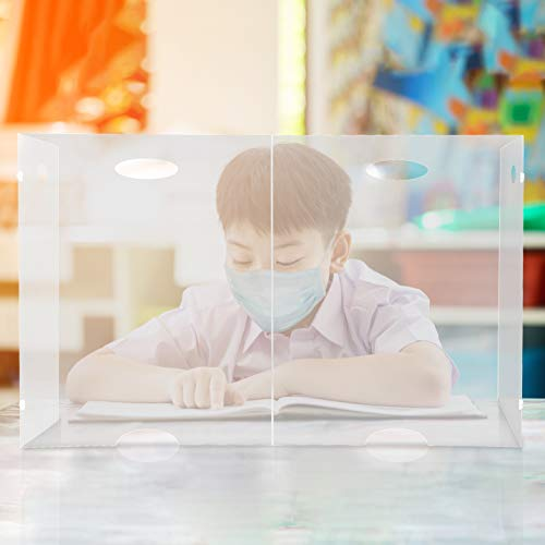 Portable Student Desk Shield - Folding Plastic Divider Screen for Desktop or Table, Transparent Durable Barrier Panel Best PPE Partition Protector for Classroom or Office