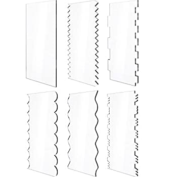 6 Pieces Clear Acrylic Cake Scraper Cake Decorating Comb Saw Tooth Set Contour Comb Cake Edge Smoother Scraper Butter Cake Cream Edge DIY Icing Frosting Tool in 11 Patterns for Different Shapes