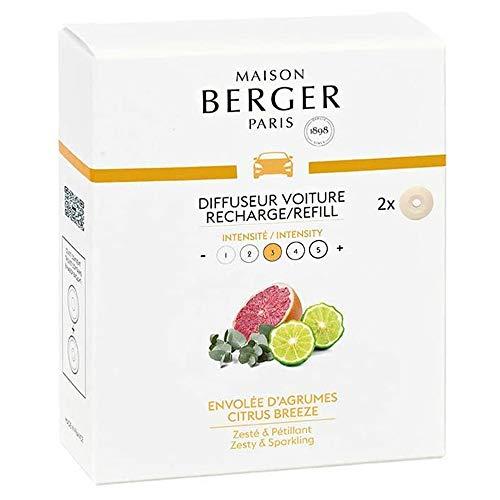 MAISON BERGER Paris - Recharges Diffuseur Voiture - Parfum Envolée d'Agrumes