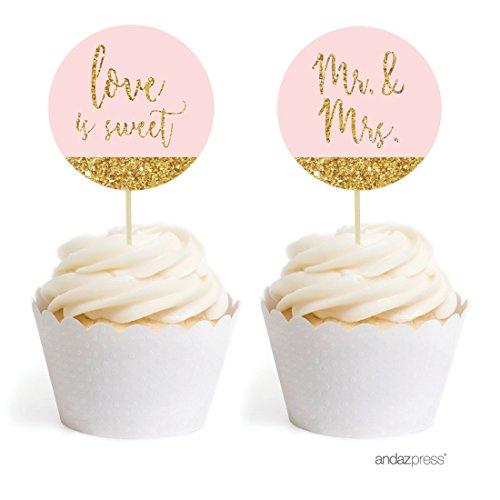 Andaz Press Blush Pink Gold Glitter Print Wedding Collection, Round Cupcake Topper DIY Party Favors Kit, 20-Pack