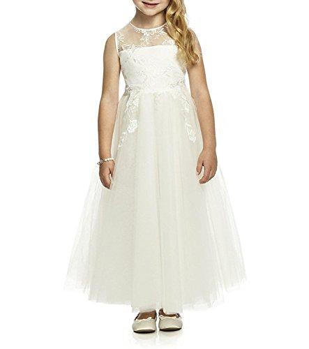 CLLA dress Mädchen Prinzessin Blumenmädchenkleider für Hochzeit Spitze Kommunionkleid Brautjungfer Kleid(Elfenbein,5-6 Jahre)