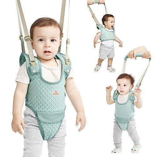 YEALEO Lauflernhilfe Gehhilfe für Baby Stehen Gehen Lernen Helfer Walker Sicherheitsleinen, 4 in 1 Funktionale Lauflerngurt für Kinder 7-24 Monate, A-Grün