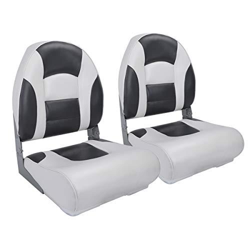 NORTHCAPTAIN S1 Pro Premium High Back Folding Boat Seat(2 Seats),White/Charcoal