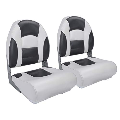 NORTHCAPTAIN S1 Pro Premium High Back Folding Boat Seat(2 Seats),White/Charcoal