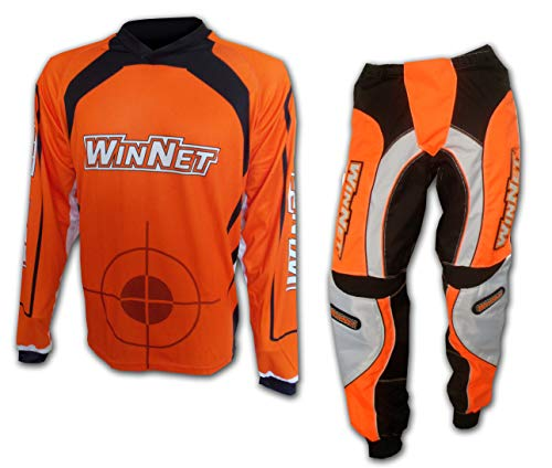 WinNet completo tuta per moto da cross ARANCIO maglia e pantaloni (M)