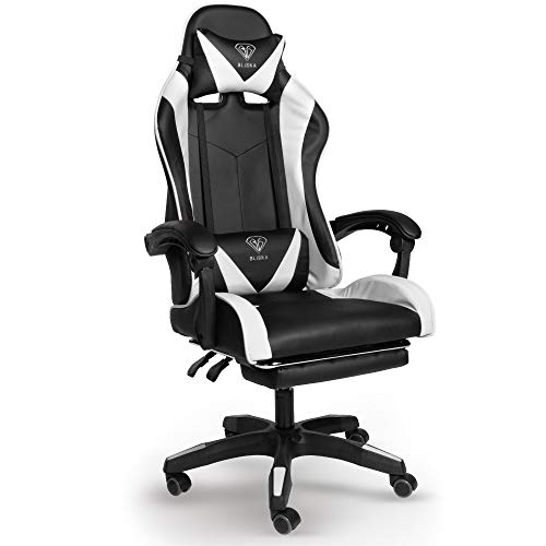 Trisens Gaming Stuhl, Home Office Chair Racing Chefsessel Bürostuhl Sportsitz Büro Stuhl, Farbe:Schwarz/Weiß