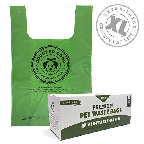 Biodegradable Dog Poop Bags | Compostable Dog Waste Bags with Handles | 100% Plastic Free, Unscented, Vegetable-Based & Eco-Friendly, Thick & Leak Proof, Easy Detach & Open | X-Large Size | 30 Count