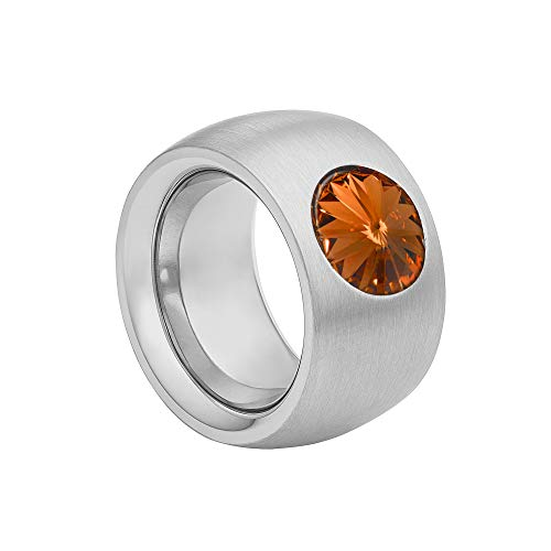 Heideman coma 14 Rings for Women in Acciaio INOX Colour Silver Ring with Zirconia Stone Brown