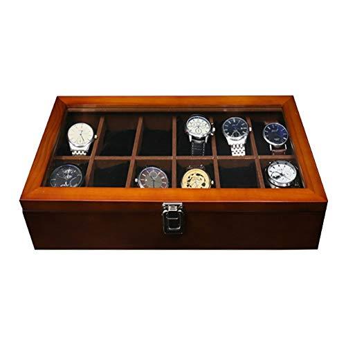ZHAYEUK ZHAYEUK Holz Uhrenbox Uhrenkoffer 12 Uhren Einzel for Herren Damen, Groß Uhrenkasten männer Kasten Uhren Uhrenaufbewahrung for den Ehemann, (Brown, 37 x 20 x 9 cm)