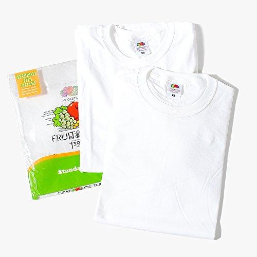 フルーツオブザルーム (FRUIT OF THE LOOM) Tシャツ 2枚セット パックTシャツ メンズ (M, ホワイト×ホワイト)