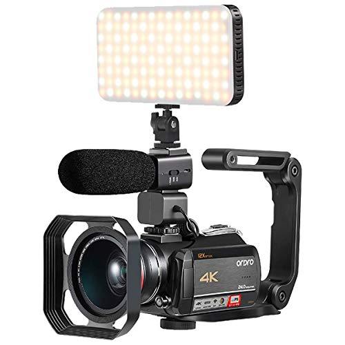 Camescope 4K, avec Zoom Optique 12X, Connexion de lumière LED, Microphone, Objectif Grand Angle, Pare-Soleil et Stabilisateur Portable Pliable (Carte SD 32 Go en Cadeau) par Emperor of Gadgets