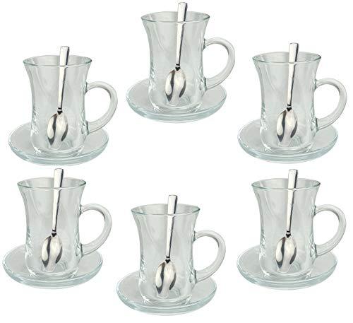 Orginal türkisches Tee Set Teeset 'KULP'/ 6 klassische Gläser mit Henkel von Pasabahce/ 6 Rührlöffel (Marke PROUD)/ 6 Untersetzer von Pasabahce