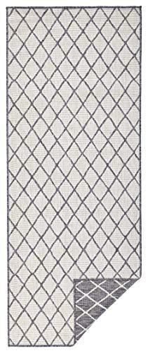 bougari Alfombra Reversible para Interior y Exterior, Color Gris y Crema, 80 x 250 cm