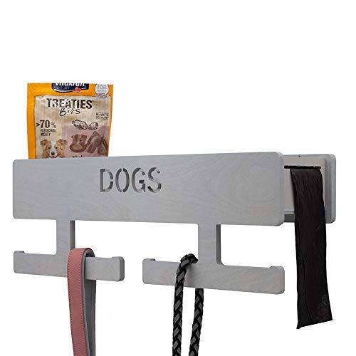 INEXTERIOR Hundegarderobe XL - Farbe: Schwarz - aus Holz - mit großer Ablage - in Deutschland gefertigt - mit Spender für Hundekotbeutel und Haken für Handtücher (Hellgrau)