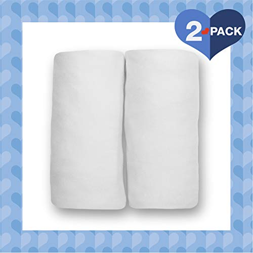 Delta Children Changing Pad Covers  2 Pack | Solid Color | 100% Jersey Knit Cotton | Fits Standard Changing Pads White