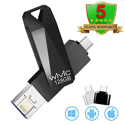 Flash Drive for iPhone 128GB USB 3.0 Photo Stick Thumb Drive Data Storage, Compatible with iPhone/iPad/PC/Android Password/Touch ID Protected Flash Drive for iOS/iPhone (128G Black)
