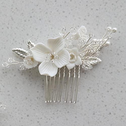 Playa Accesorios para el Cabello,Boda pequeña pelo peine porcelana flor de porcelana pedazo de pelo oro plata color hoja hoja dama de honor joyería de adornos de pelo, peines del lado de fiesta para