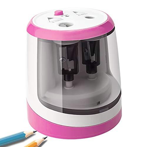 Uong Elektrischer Anspitzer, Automatischer Bleistiftanspitzer Elektrisch für Kinder mit Zwei Löchern, Batterie Betrieben, 2 Ersatzmesser, für Zuhause, Büro, Schule Klassenzimme (Rosa)