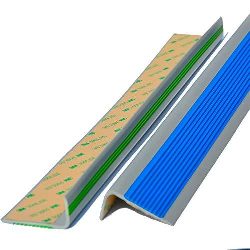 Nariz Antideslizante de Escalera Borde de paso de ángulo de 50x25mm para escaleras de interior al aire libre PVC 1.2m longitud autoadhesiva escalera anti resbalón sin deslizamiento Adecuado para Escal