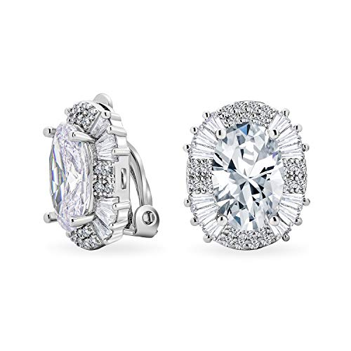 Art Déco Style Fashion Formal Holiday Party Bridal Large Oval Clear Cubic Zirconia Baguette Halo AAA CZ Stud Clip On Earrings For Women Wedding Non Pierced Ear Silver Plaqué 10CT