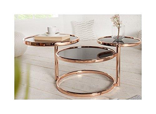 Lnxp REPRO Art Table Basse Ronde chromée en cuivre Noir Hauteur 55 cm