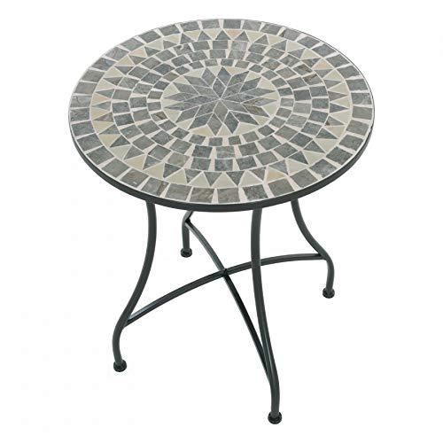 MACOShopde by MACO Möbel Raburg Mosaiktisch Mayla in BLAU/GRAU/Mint - Gartentisch mit einzigartigem Muster, handgefertigtes Unikat - Rund ø 60 cm, Höhe 70 cm