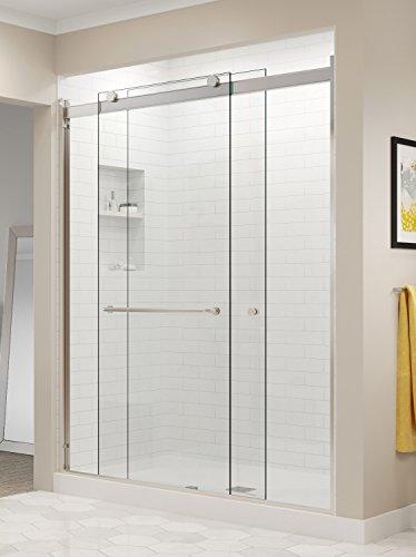 Basco RTLA05B4870CLBN Rotolo Sliding Shower Door, Brushed Nickel, 44-48 in. Wide x 70 in. high, Clear