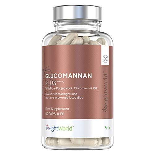Glucomanano Plus 3000 mg - Inhibidor Del Apetito, Suplemento Natural Para Adelgazar y Perder Peso, Efecto Saciante, Con Raíz de Konjac, Cromo Y Vitamina B6, Aumenta Metabolismo, 60 Cápsulas Veganas