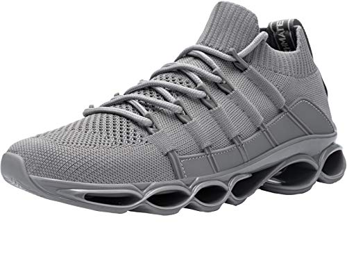 scarpe aperte donna basse DYKHMATE Uomo Antishock Scarpe da Ginnastica Corsa Sportive Fitness Running Sneakers Basse Interior Casual all'Aperto (Grigio Chiaro