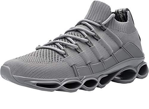 DYKHMATE Zapatillas de Deporte Hombres Antishock Running Zapatos para Correr Gimnasio Sneakers Deportivas Transpirables (Gris,45 EU)