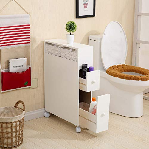 Slim Bathroom Storage Cabinet on Wheels Wood Floor Rolling Holder Organizer Bath Toilet Narrow Corner Shelves with Slide Out Drawers and Baskets White 276x197x63in