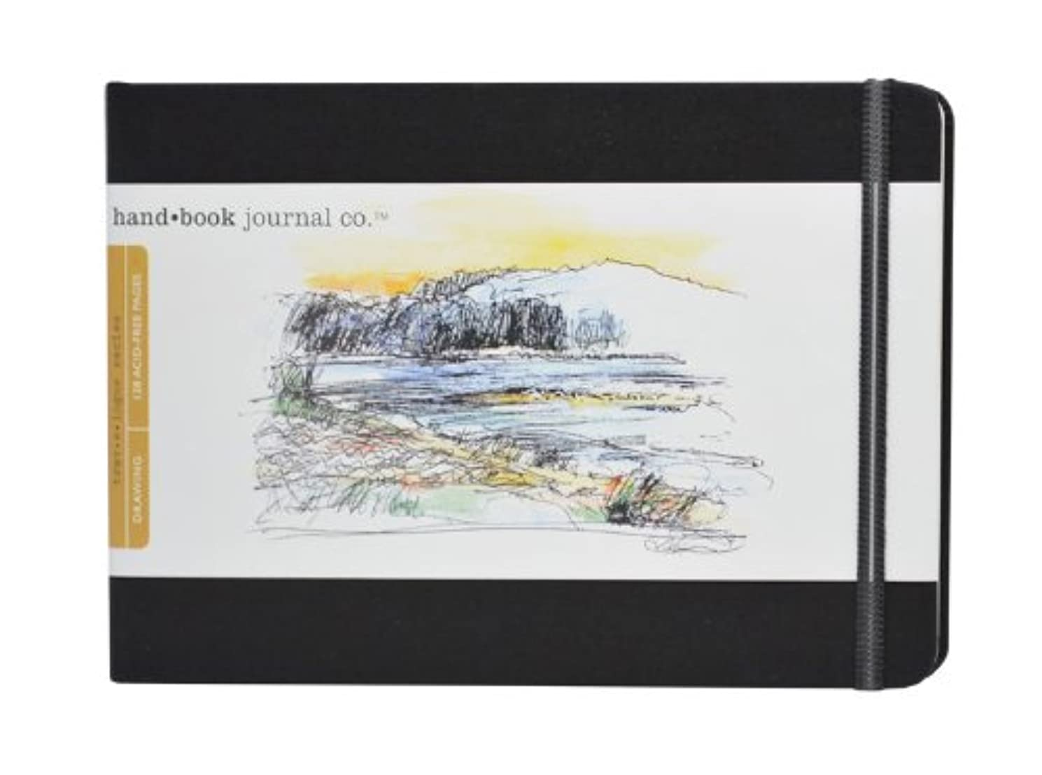Travelogue Drawing Book, Large Landscape 5-1/2 x 8-1/4, Ivory Black Artist Journal