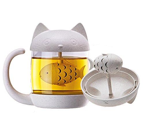 Romote Tazza tè con © infusore, Gatto Tazza di Pesce di Vetro con Filtro Filtro Regalo Carino per Le Ragazze Wowen (8.7OZ / 250ML)