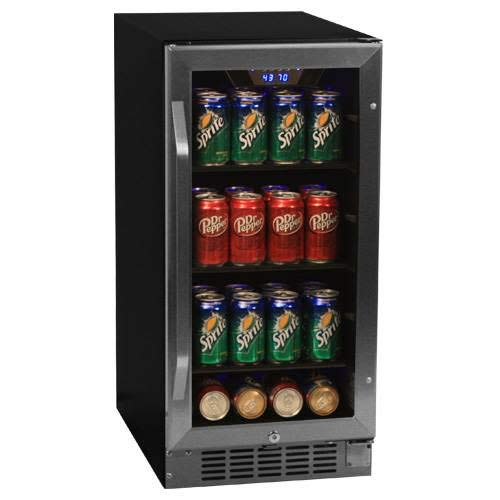 EdgeStar 80 Can Built-In Beverage Cooler - Black/Stainless ...