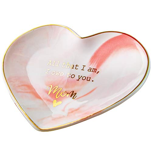VILIGHT Moms Gifts from Daughter Son - Mothers Wedding Day Gifts from Bride Groom - All That I Am, I Owe to You Mom - Jewelry Tray Ring Holder Dish Large Size 5.5 Inches