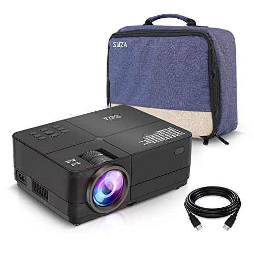 Review SWZA Video Projector, 4000 LUX Mini Portable Movie Projector Full HD 1080P Supported, Compati...