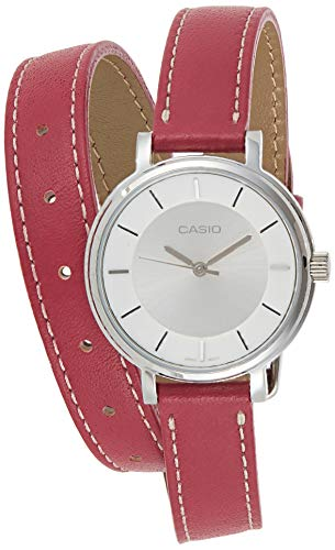 Casio LTP-E143DBL-4A1 Women's Double Loop Pink Leather Band White Dial Analog Watch