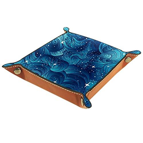 Bandeja de dados de metal para juegos de rol, DND y otros juegos de mesa, caja de almacenamiento de soporte de dados, tabla de protección, doble cara plegable Sqaure cuero PU estrellado azul cielo