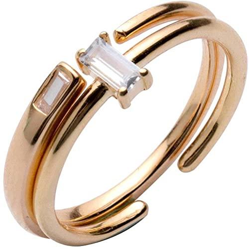 BEWITCHYU Anillo de Plata con un Solo Diamante S925, Anillo Abierto con un Solo Diamante de Personalidad Simple para MujerDiamante baguette y oro champán, Apertura regulable