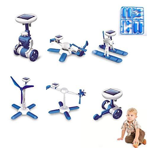 1pack 6 in 1 Solar Powered Robot Kit Bambini Diy Giocattolo Solare Giocattoli Educativi Del Crogiolo Di Automobile Fan Modello Regalo Di Compleanno Per I Bambini