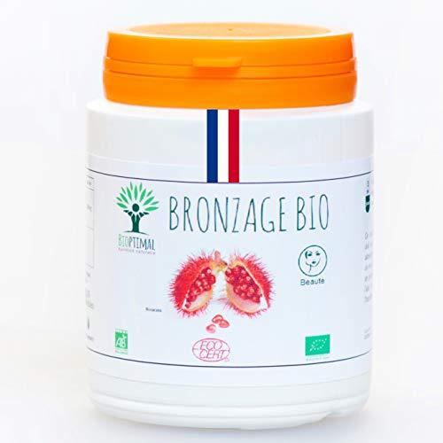 Urucum Bio - Bioptimal - Complément Alimentaire - Autobronzant - Bronzage Urucum - Roucou - Activateur Bronzage - Made in France - Certifié Ecocert - 200 gélules