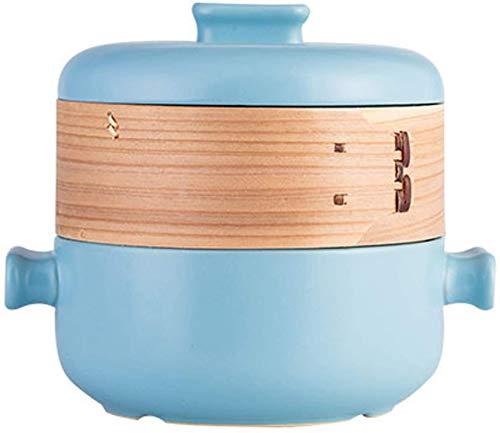 XY-M Sistema de vaporas con Tapa de Vapor de Vapor de Vapor de Vapor de cocinar Maceta de Sopa Pan de cerámica Pan Multi-Function Cacerola para la Cocina 1.5 l Azul