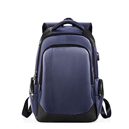 YZYZYZ Mochilas Mochila Usable USB Recargable Al Aire Libre Mochila Casual Negocio Oxford Cloth (Color : Blue)