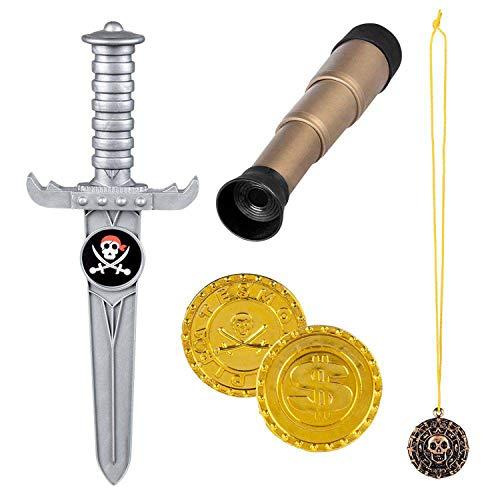 Boland 74141 - Set pirata con cannocchiale da 18 cm, pugnale 23 cm, catena con amuleto e 2 monete d oro, per bambini, costume di carnevale, carnevale, Halloween, feste a tema