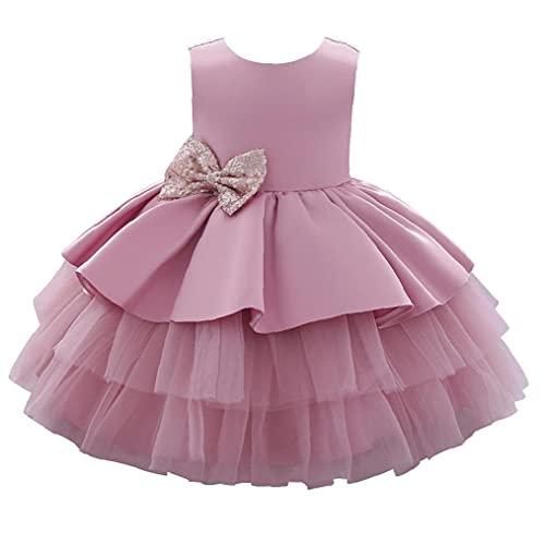 Partito dei vestiti del bambino della ragazza principessa Tulle Pizzo Tutu elegante fiocco damigella...