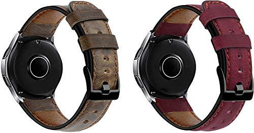 Gransho Correa de Reloj 22mm, Correas Repuesto (diseño de Moda Original) (22mm, Café + Rosa)