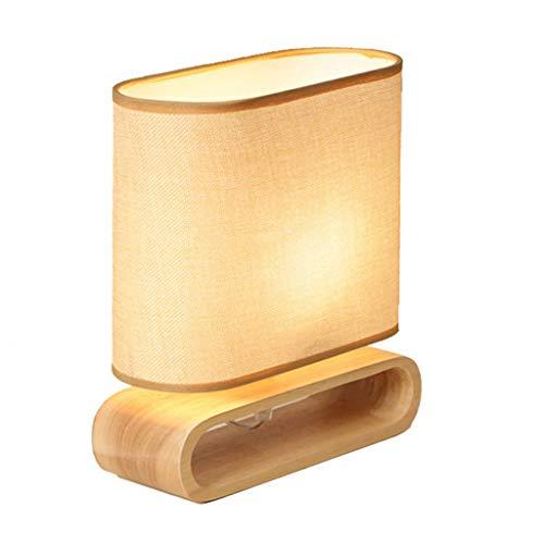 FU_YING Lámparas de mesa y mesilla de noche Iluminación para escritorio - Lámpara de mesa de diseño clásico con forma marrón y pedestal de madera E27